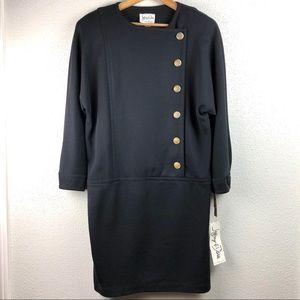 Vintage NWT Black Knit Dress Gold Buttons